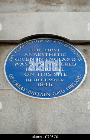 blue plaque marking the 1846 site of the first anaesthetic given in england, gower street,  london - Stock Photo