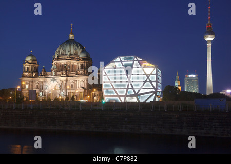 Berlin skyline with Cathedral, Humboldt Box and television tower, Berlin, Germany - Stock Photo