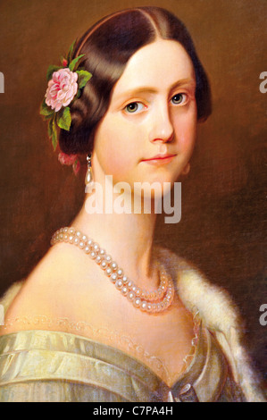 Portugal, Lisbon: Oil portrait of Dona Maria Amelia, Princess of Brazil in the gallery of the National Museum of - Stock Photo