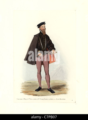 Male costume of the reign of Henry VIII, from a portrait of Sir Thomas Gresham by Holbein in Mercers Hall, London. - Stock Photo