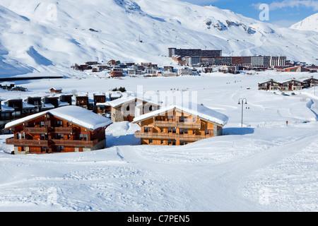 Tignes Val Claret across Le Lac, Tignes, Savoie, Rhone-Alpes, France - Stock Photo
