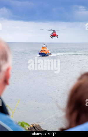 Coverack Lifeboat Day; Rescue display; Cornwall; UK - Stock Photo
