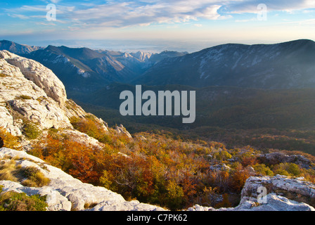 A view from the top of Velebit (bujma) to the canyon of Paklenica. Croatia. - Stock Photo