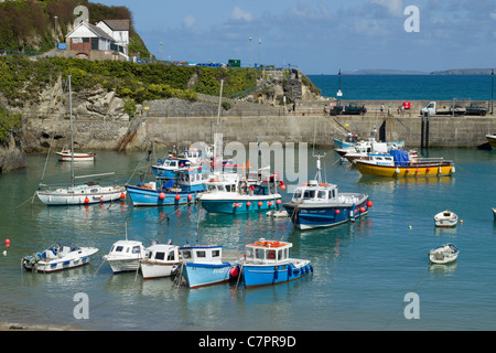 Colourful boats in Newquay harbour, Cornwall UK. - Stock Photo