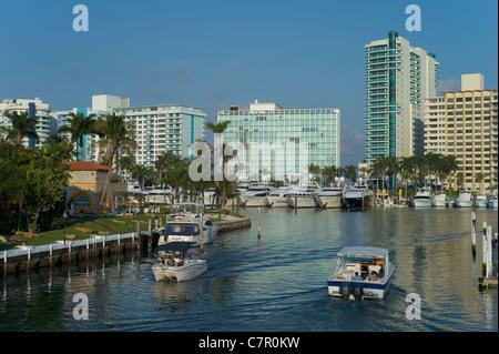 Inter-coastal Canal, Miami Beach, Florida, USA - Stock Photo