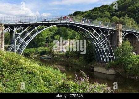 The famous Iron Bridge spanning the River Severn in the historic town of Ironbridge, Shropshire, England, UK - Stock Photo