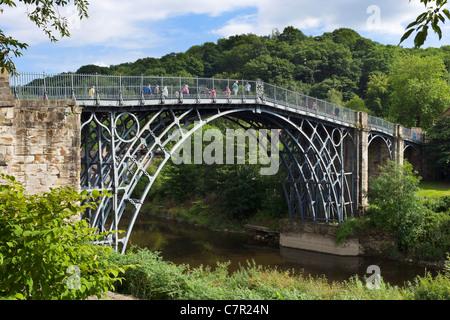 Ironbridge. The famous Iron Bridge spanning the River Severn in the historic town of Ironbridge, Shropshire, England, - Stock Photo