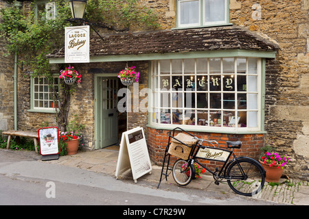 The Lacock Bakery on Church Street in the centre of the picturesque village of Lacock, near Chippenham, Wiltshire, - Stock Photo