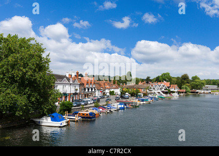 View of the town from the bridge over the River Thames at Henley-on-Thames, Oxfordshire, England, UK - Stock Photo