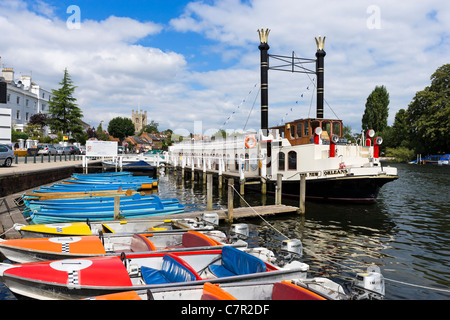 The paddle steamer 'New Orleans' and boats for hire on the River Thames at Henley-on-Thames, Oxfordshire, England, - Stock Photo