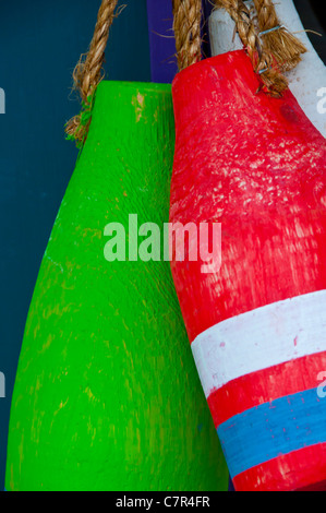 Colorful Buoys Camden Maine - Stock Photo