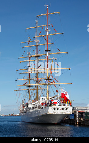 One of the largest sailing training ships in the world, the Polish Dar Mlodziezy moored on a visit to Copenhagen, - Stock Photo