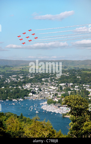 Red Arrows Royal Air Force Aerobatic Team fly their Diamond Nine trademark formation above Bowness. Windermere Air - Stock Photo