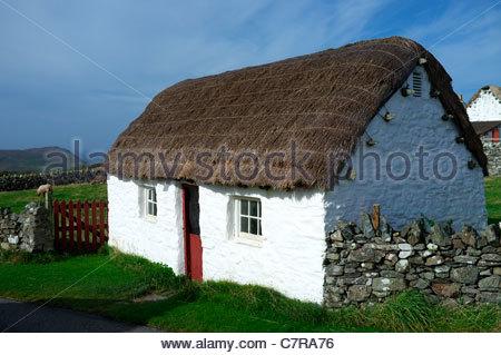 An old dwelling in Cregneash on the Isle of Man, British Isles. - Stock Photo