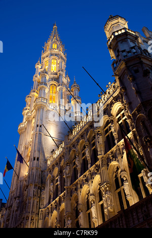 Belgium, Flanders, Brussels, Grand Place, Hotel de Ville Tower at Night - Stock Photo