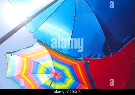 Colourful beach umbrellas - Stock Photo