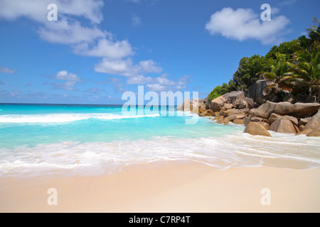 View of the Petit Anse beach at La DIgue Island, Seychelles. - Stock Photo