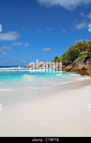 View of the Anse Cocos beach at La Digue Island, Seychelles. - Stock Photo