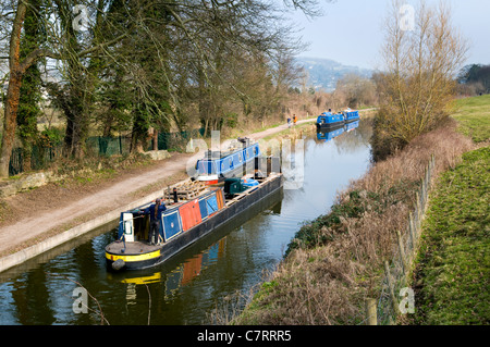 Rural scene of canal boats on the Kennet and Avon canal taken at Limpley Stoke near Bathampton on a bright sunny - Stock Photo