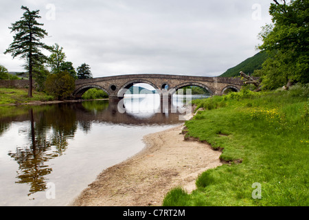 Kenmore bridge at Kenmore over the river Tay looking out over loch Tay and towards Ben Lawers mountain range - Stock Photo