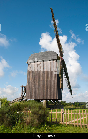 Post mill of Pudagla, Usedom Island, Baltic Sea, Mecklenburg-Vorpommern, Germany, Europe - Stock Photo