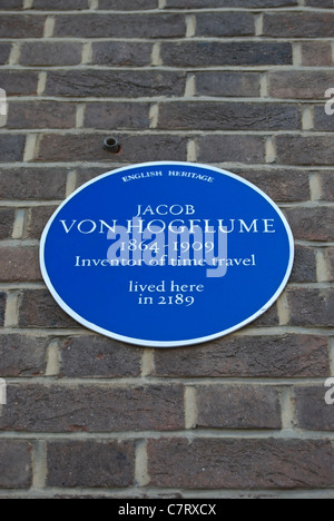spoof english heritage blue plaque claiming to mark a home of time travel inventor jacob von hogflume - Stock Photo