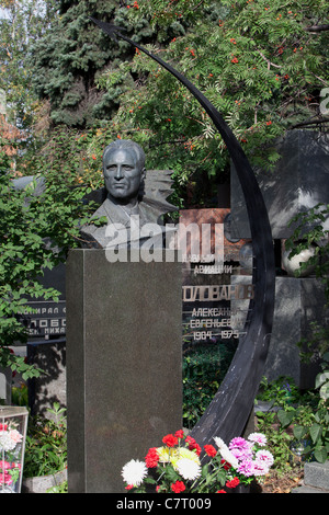 Grave of the Soviet Chief Marshal of Aviation Alexander Yevgeniyevich Golovanov (1904-1975) at Novodevichy Cemetery - Stock Photo