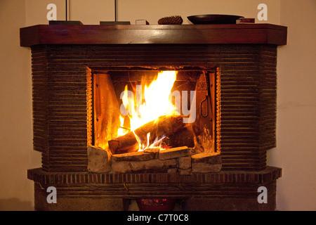 Fireplace burning logs - Stock Photo
