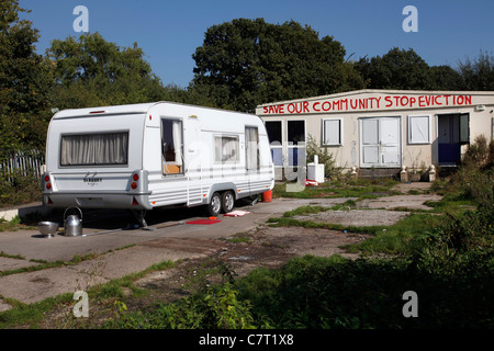 Dale Farm in Basildon, Essex, UK. Site of travellers evicted by local council. They won a temporary court order - Stock Photo