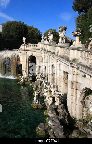 Italy, Campania, the Palace of Caserta, Royal Garden, Aeolus Fountain - Stock Photo