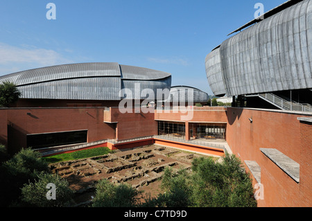 Rome. Italy. Auditorium, Parco della Musica, designed by Renzo Piano & the remains of an ancient roman villa. - Stock Photo