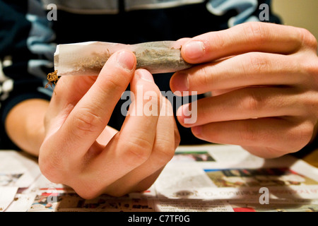 Young man's hands rolling marijuana joint, close up - Stock Photo