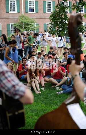 Yale University summer school clap at a July 4rth picnic. - Stock Photo