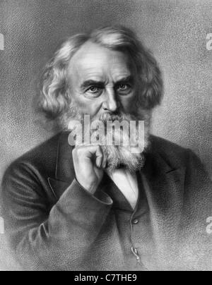 Vintage portrait print circa 1875 of American poet and educator Henry Wadsworth Longfellow (1807 - 1882). - Stock Photo