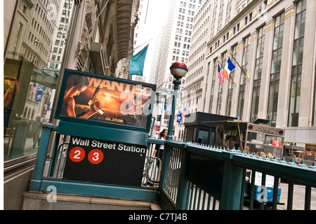 USA, New York City, Wall street subway entrance - Stock Photo