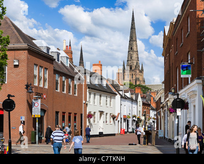 Spire of Lichfield Cathedral from Bakers Lane in the city centre, Lichfield, Staffordshire, England, UK - Stock Photo
