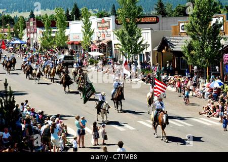 Parade through Main Street of Joseph, Eastern Oregon, during Chief Joseph Days celebrations of historic Indian Nez - Stock Photo