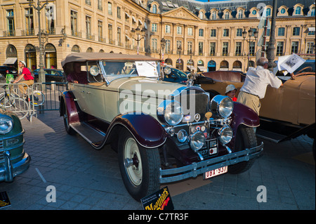 Paris, France, Antique Cars on Display, Front, Packard 1927, Place Vendome - Stock Photo