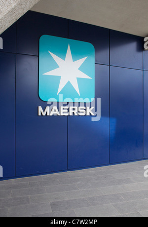 Office Building Of Maersk Shipping Company With Blue Windows At