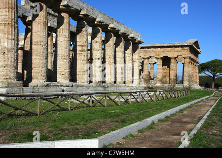 Italy, Campania, Paestum, Neptune temple - Stock Photo