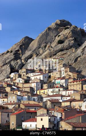 Italy, Basilicata, Dololiti Lucane, Pietrapertosa town, and Dolomiti Lucane - Stock Photo