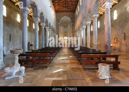 Italy, Campania, Caserta Vecchia, the Cathedral interior - Stock Photo