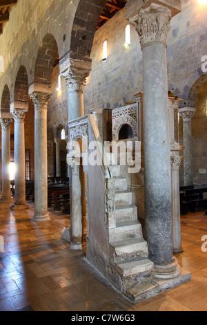 Italy, Campania, Caserta Vecchia, the Cathedral interior, XIII century pulpit - Stock Photo