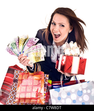 Business woman with money, gift, box, bag. - Stock Photo