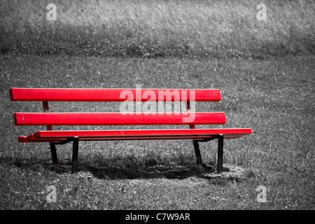Empty red bench in park - Stock Photo