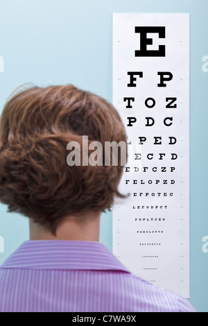 Photo of a woman at the opticians having her eyesight tested using a eye chart to see if she needs glasses. - Stock Photo