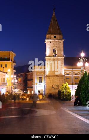 Italy, Campania, Benevento, Santa Sofia Church Bell Tower at Dusk - Stock Photo