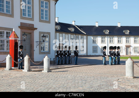 Change of guard by the Royal Danish Life Guards at the Fredensborg Palace near Copenhagen, Denmark - Stock Photo