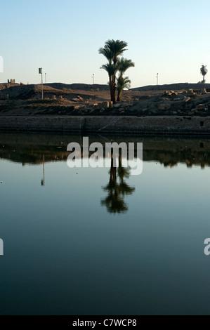 Sacred lake at Karnak temple, Luxor, Egypt - Stock Photo