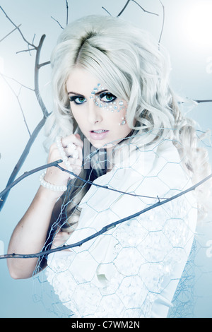 Blonde young beautiful woman dressed as winter queend - Stock Photo